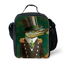 Green Crocodile Printed Kids Insulated Lunch Bags Boys School Lunchbag Picnic