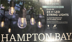 Hampton Bay 12-Light Indoor/Outdoor 24 ft. String Light with S14 Single LED Bulb