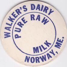 MILK BOTTLE CAP. WALKER'S DAIRY. NORWAY, ME.