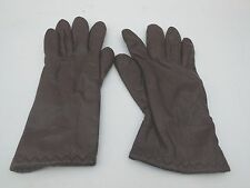 *GANDOE LADIES BROWN LEATHER GLOVES ACRYLIC KNIT LINING SIZE S