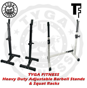 TYGA Fitness Heavy Duty Adjustable Squat Rack Barbell Stand Bench Press Home Gym