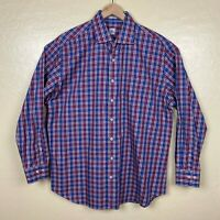 Peter Millar Button Up Shirt Mens Size XL Pink Blue Plaid Long Sleeve Collared