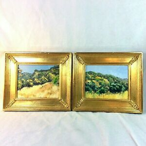 SET 2 ORIG IMPRESSIONIST LANDSCAPE PAINTINGS CONTEMP GOLD FRAME CARMEL VALLEY CA