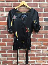 French Connection Black Floral Belted Tunic Top Blouse Shirt 2 XS Small * RARE!