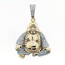 14K Gold Plated 925 Sterling Silver CZ Iced Budda Hip Hop Charm Pendant For Men