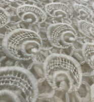 VINTAGE 1960/70s  Lace Fabric 3 Yards Mod Groovy Bridal MCM White  w/Stains Read