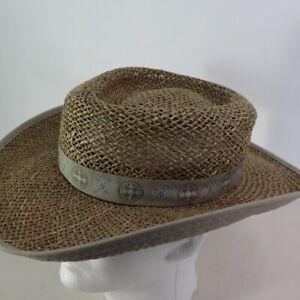Columbia Sportswear Straw Hat Unisex Size S/M Gray Ribbon Outdoors