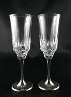 Pair of Vintage Lead Crystal Champagne Flutes Prosecco glasses Silver plate foot