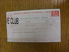 22/11/1997 BIGLIETTO: Leyton Orient V Notts County [direttori Box] (piegato). bobfra
