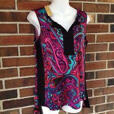NWT Ladies XS Black Pink Blue Mult Tunic Top Paisley High Low Hemline Sleeveless