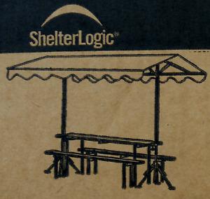 ShelterLogic Bierzeltganitur Überdachung 2,3m B x 3,2m L Desert Bronze