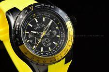 Invicta Men 50mm Aviator Lemon Yellow Black Chronograph Silicone Strap SS Watch