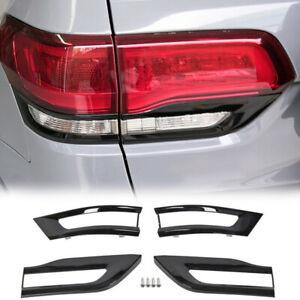 4x Gloss Black Tail Light Lamp Cover Trim Bezel Fits 2014-20 Jeep Grand Cherokee