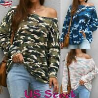 Womens Camo Off Shoulder Sexy T Shirt Long Sleeve Tops Blouse Loose Baggy Shirts