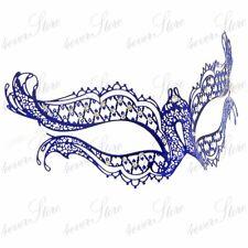 Womens Vampire Diaries Inspired Laser Cut Venetian Metal Masquerade Mask [Blue]