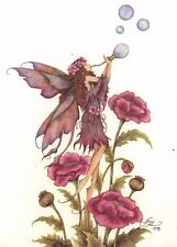 Postcard Amy Brown Gothic Fairy POPPIES & BLOWING BUBBLES Art Print Collectable