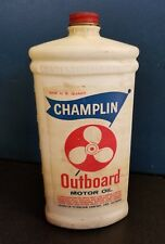 Rare Vintage Champlin Outboard Motor Oil Can Bottle Plastic Prop Graphic