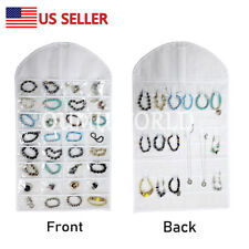 Hanging Jewelry Organizer Necklace Closet Bag Holder Travel Display Case White