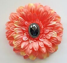 "5"" Peach Gerbera Daisy Black Rhinestone Silk Flower HAIR Clip BROOCH Pin"