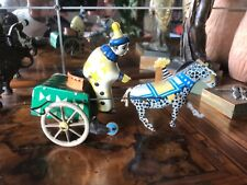 Antique Tin Toy Ingap? Clown Pony And Cart Antico Giocattolo Latta Carretto