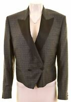 PIERRE CARDIN Womens Double Breasted Blazer Jacket Size 16 Large Grey Silk  NP04
