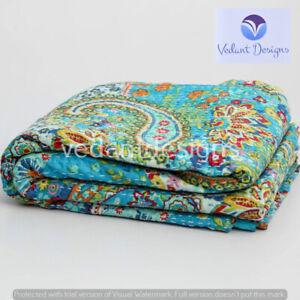 Vintage Paisley Print Kantha Quilt Blanket Indian Bedspread Coverlet Throw Art