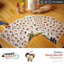 Honey Bee Girl Stickers Diary Planner Scrapbooking Decoration Stickers 6 sheets