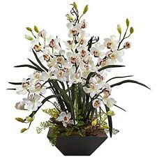 Nearly Natural 1404-WH Cymbidium Orchid Silk Arrangement With Black Vase White