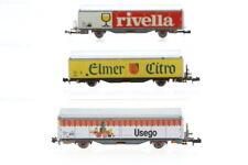 N Roco Güterwagen Usego Rivella Elmer boxcar Konvolut/I72