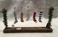Metal & Wood Christmas Stockings hanging on a line Mantel Decoration Retro