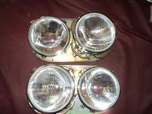 1969 80 Renault 12 Head light Lamp Bezel Trim Pair Double Sealed beam type phare