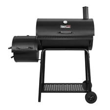 30 in. Charcoal Grill With Offset Smoker, Royal Gourmet Black Steel BBQ Cart