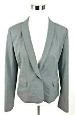Halogen Blazer Womens Size 8 Gray Career Work Suit Jacket Check 1 Button Lined
