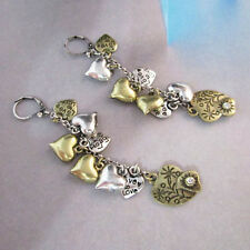 NEW - Urban Anthropologie Amor Heart Charm Gold Silver Earrings
