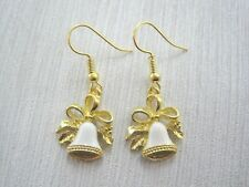 WHITE ENAMEL CHRISTMAS BELL Gold Plated Drop Earrings VINTAGE STYLE Cute HOLLY