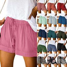 Women Summer Drawstring Elastic Waist Shorts Lady Casual Sports Baggy Hot Pants