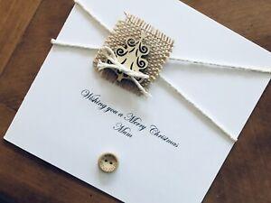 "Personalised Handmade Christmas Cards - Wooden Christmas Tree 6"" X 6"""