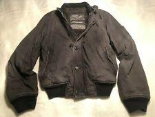 Abercrombie & Fitch Harrison Jacket - Mens Large - Gray - Faux Fur Bomber Jacket