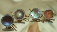 Nice Vintage 50's 4 Abalone Art Deco Buttons cuff Links Four  278JL6