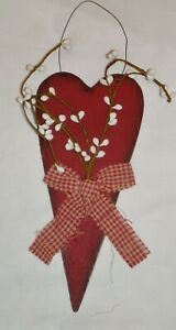Rustic Primitive RED HEART w Pip Berries Country Home Décor