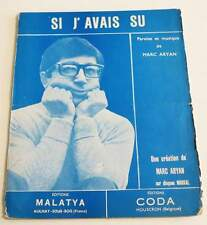 Partition vintage sheet music MARC ARYAN : Si j'avais Su * 60's