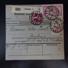 COLIS POSTAUX BULLETIN D'EXPÉDITION ALSACE LORRAINE COLMAR 1 1922