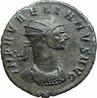 AURELIAN receiving wreath from Victory 274AD Silvered Ancient Roman Coin i76173