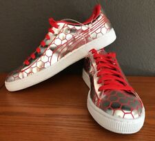 Mens Size 9 US Puma Shoes Silver Red Metallic Basket Classic Sneakers 8 UK 42 EU