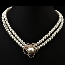 STUNNING 18K ROSE GOLD PLATED & GENUINE AUSTRIAN CRYSTAL & PEARL  NECKLACE