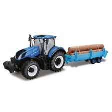 Bburago 1:32 New Holland T7Hd Tractor With Log Trailer Diecast Metal Model
