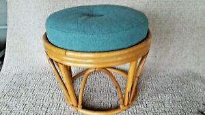 Vintage Bamboo Bentwood Rattan Footstool Ottoman Retro Boho Design Mid Century