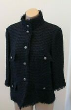 CHANEL Blue Lightweight 3/4 Sleeve Jacket/Blazer w/ Fringe & Silver Buttons - 42