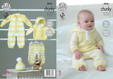 King Cole Baby Chunky Knitting Pattern Easy Knit All-in-One Hoody Pants Hat 4846