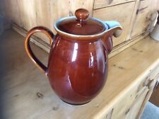 Vintage DENBY Homestead COFFEE / Tea 2 pint Brown Ex Condition Retro Blue Inner